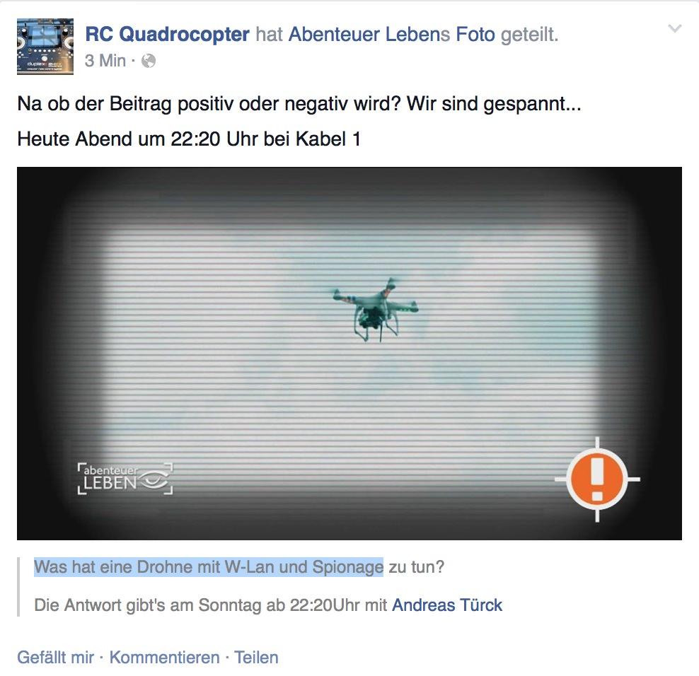 TV: Was hat eine Drohne mit W-Lan und Spionage zu tun -